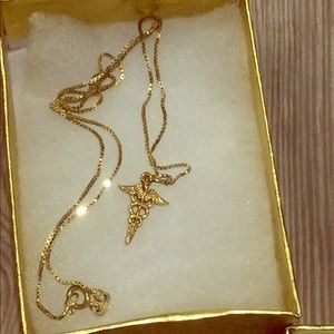 Jewelry - 18kt gold plated Medical symbol necklace